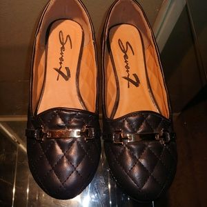 Seven 7 Slip Ons Black with Gold metal accent - 8